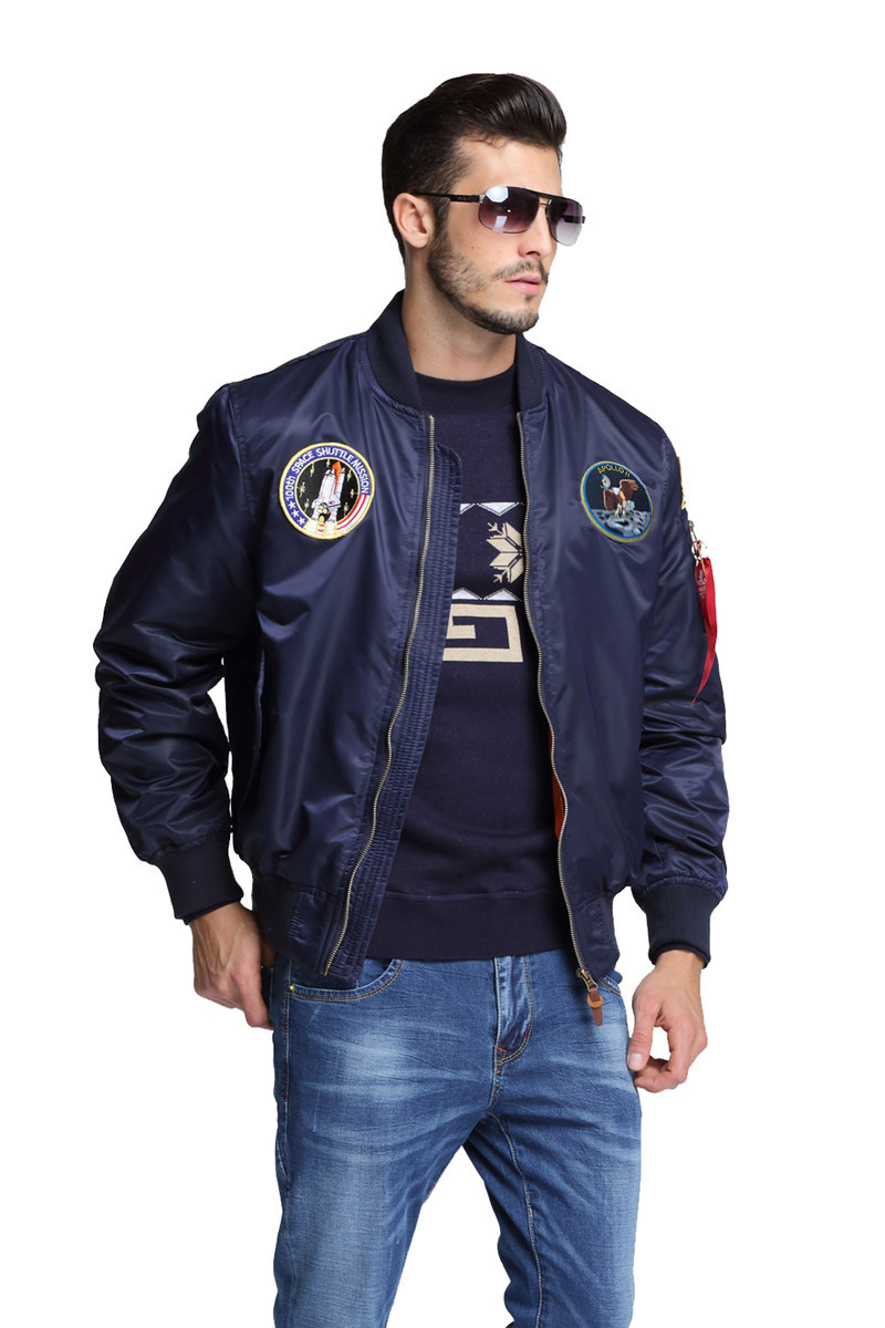 2018 New Autumn Apollo Thin 100th SPACE SHUTTLE MISSION Thin MA1 Bomber Hiphop US Air Force Pilot Flight College Jacket For Men