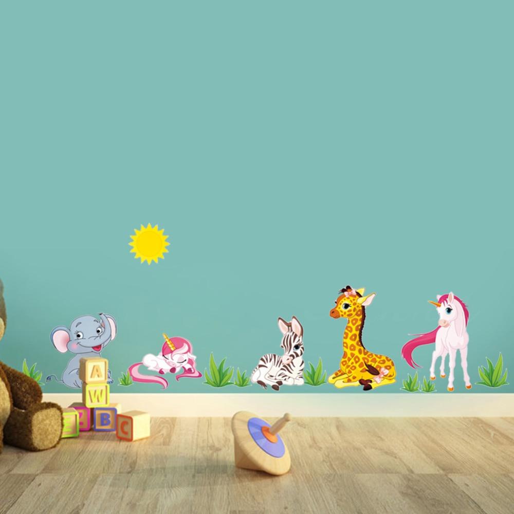 US $3 23 OFF Hutan Hewan Gambar Kartun Dinding Stiker Untuk Anak Anak Kamar TK Kuda Gajah X012 Dekorasi Rumah DIY Wallpaper Seni Decals Sticker