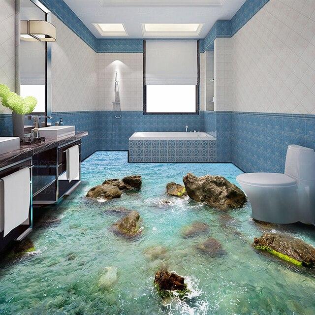 Nach Jeder Größe Wand Tapete Steine Coast Modernen 3D Wohnzimmer Bad Boden  Design PVC Wasserdicht Nicht