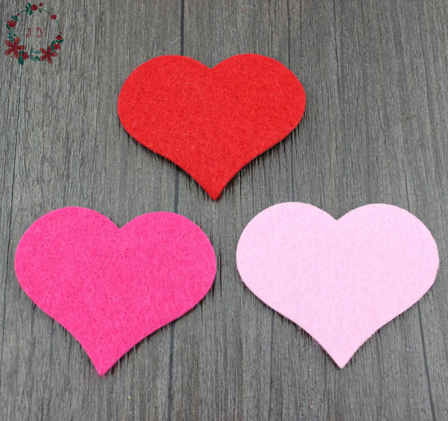 100pcslot 65cm fabric felt heart shape applique petal garment patches wedding table