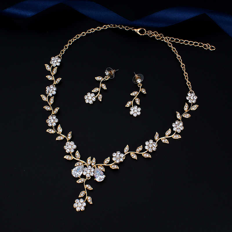 Jiayijiaduo Klasik Bridal Perhiasan Set untuk Wanita Aksesoris Kubik Kalung Anting-Anting Set Warna Emas Pernikahan Gaun