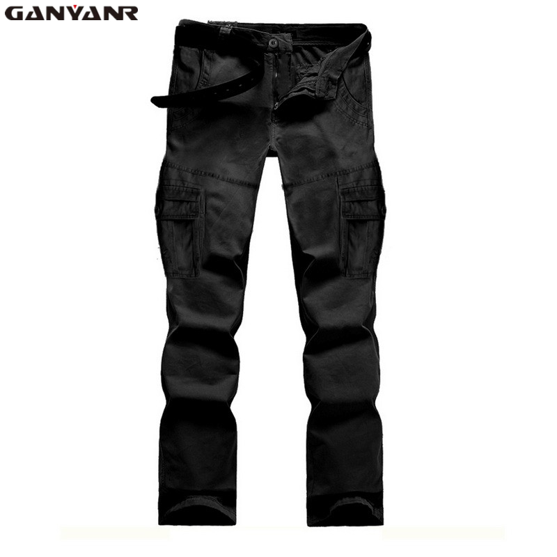 ФОТО GANYANR Brand Mens Multi-pocket tactical military army cargo Hiking Camping pants trousers Full Length Outdoor Fishing Winter