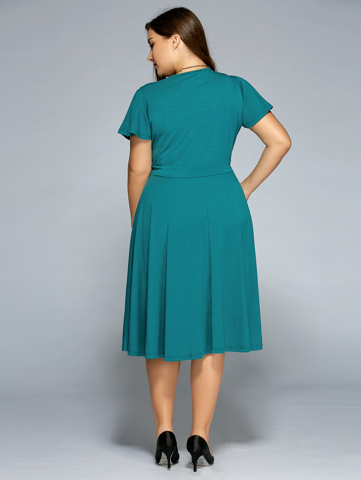 Funoc Ladies Low Cut A Line Plus Size Surplice Front Tie Swing Dress 2017  Sweet V Neck Chiffon Ocean Blue Casual Dresses-in Dresses from Women s  Clothing ... 7ae14a01a6eb