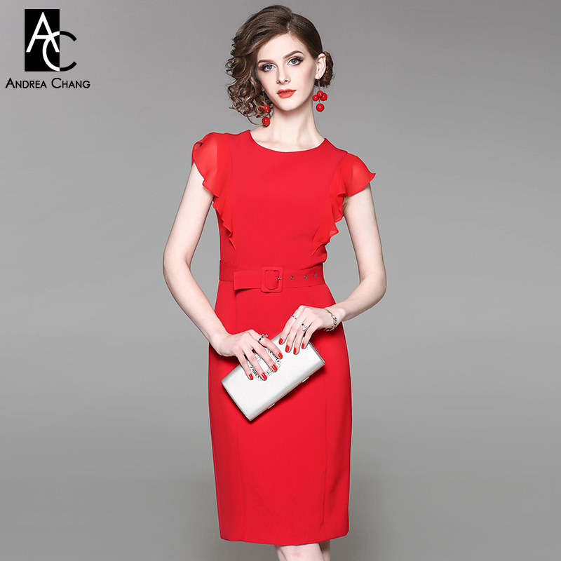 summer spring woman dress ruffled butterfly sleeve shoulder black red dress with belt fashion vintage office knee length dress spring autumn woman dress faux pearl rhinestone beading sleeve cuff knitted dress fashion vintage elastic black red party dress