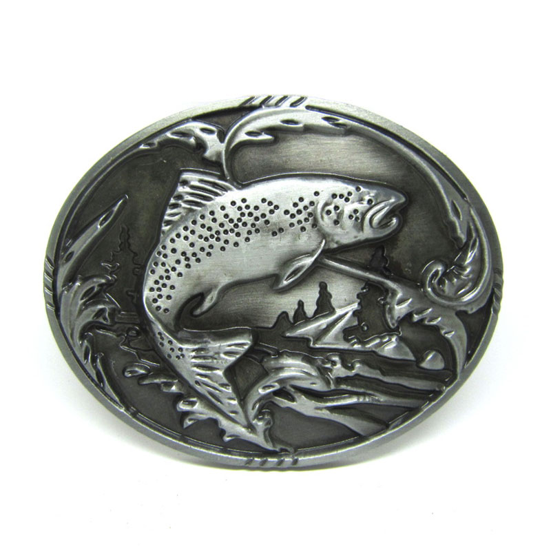 T Disom Fish Belt Buckle Mens Jeans