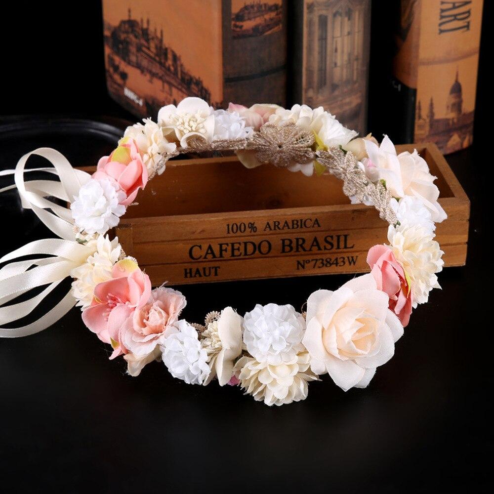 Le Liin Wedding Bohemian Rustic Wreath Bridal Crown Headpiece of Pink Floral Flower Crown Leaf Headband Bridal Hair Accessories