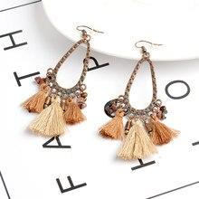 032d8d4e551b Pendientes largos pendientes de gota huecos del agua marrón Beige borlas  pendiente para las mujeres Vintage perlas colgantes enc.