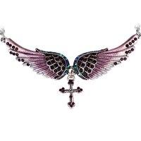 Angel Wing Cross Necklace Women Biker Jewelry W Crystal Adjustable NC01