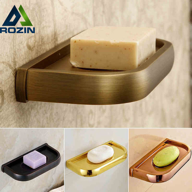 Multi-colors Wall Mounted Soap Holder Tray Rack Bathroom Brass Storage Organizer Bathroom Accessories