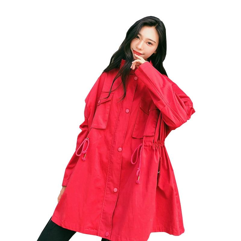 Oversize Green Red army Casaco Manteau Pour Moyen Femmes Automne Survêtement red Rouge Abrigos Long Brick Feminino Tranchée Printemps Mujer Taw4AqBKqI