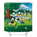3D Shower Curtains Mickey Mouse and Donald Duck Printing Waterproof Washable Moistureproof Thickened Curtain Bathroom+12 Hook