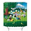 Cortinas de Baño 3D Mickey Mouse y Donald Duck Impresión Impermeable Lavable A Prueba de Humedad Espesa Cortina de Baño + 12 Gancho