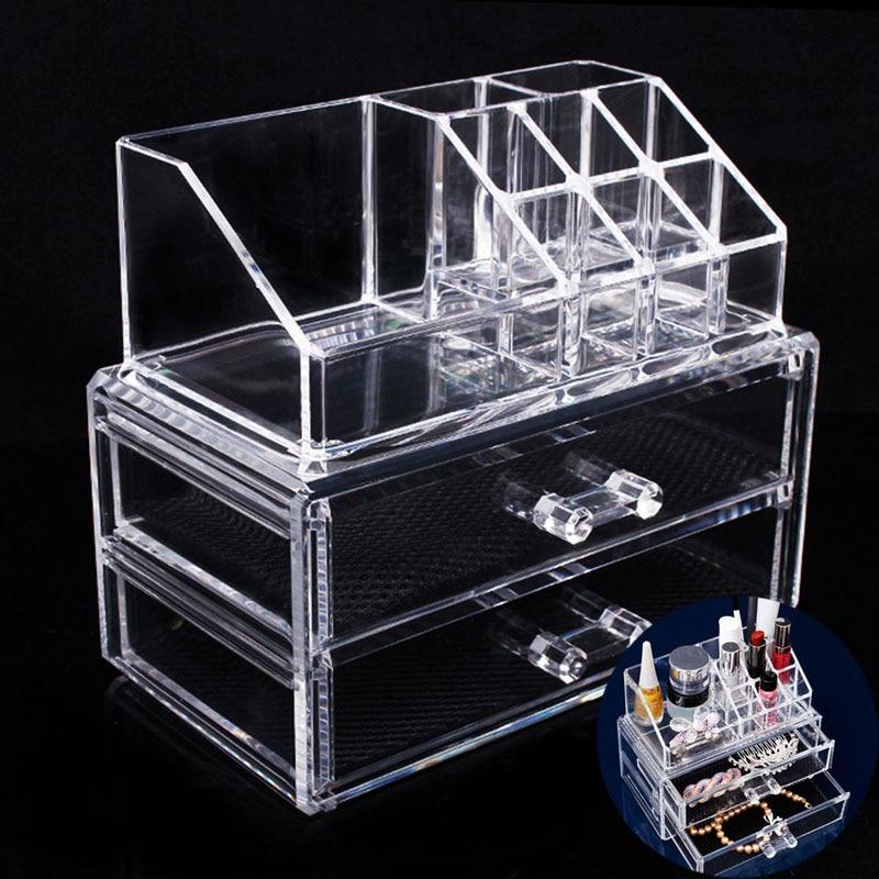 Portable Transparent Makeup Organizer Storage Box Acrylic Makeup Organizer Holder Drawers Box For Makeup Storage