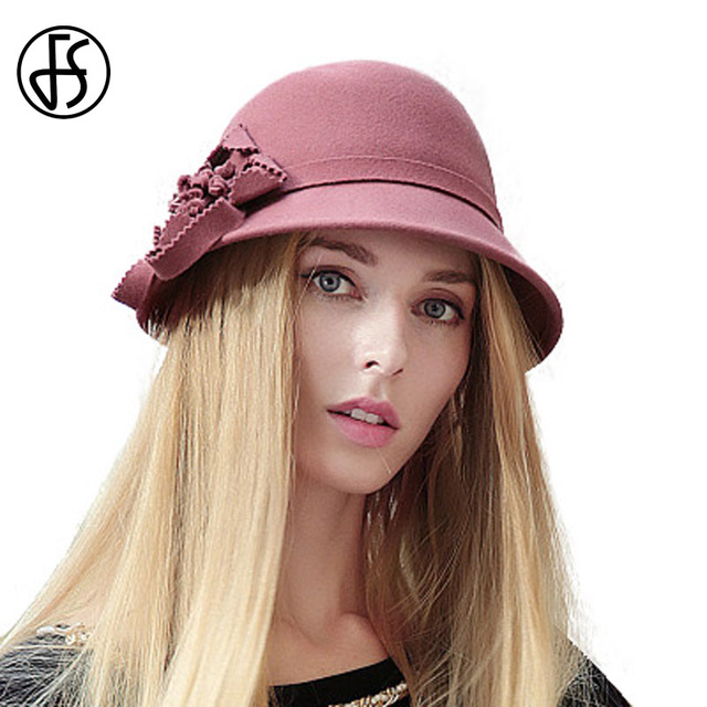 db36707a517a1b FS Elegant 100% Wool Felt Women Hat Winter Fashion Flowers Cloche Hats  Short Brim Bowler Fedoras Black Gray Khaki Green Fedora
