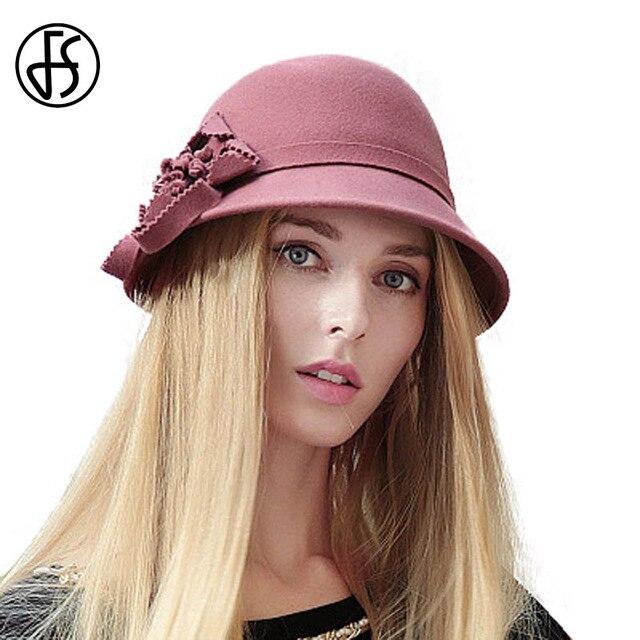FS elegante 100% de fieltro de lana sombrero de las mujeres invierno moda  flores Cloche b15b84cf93e