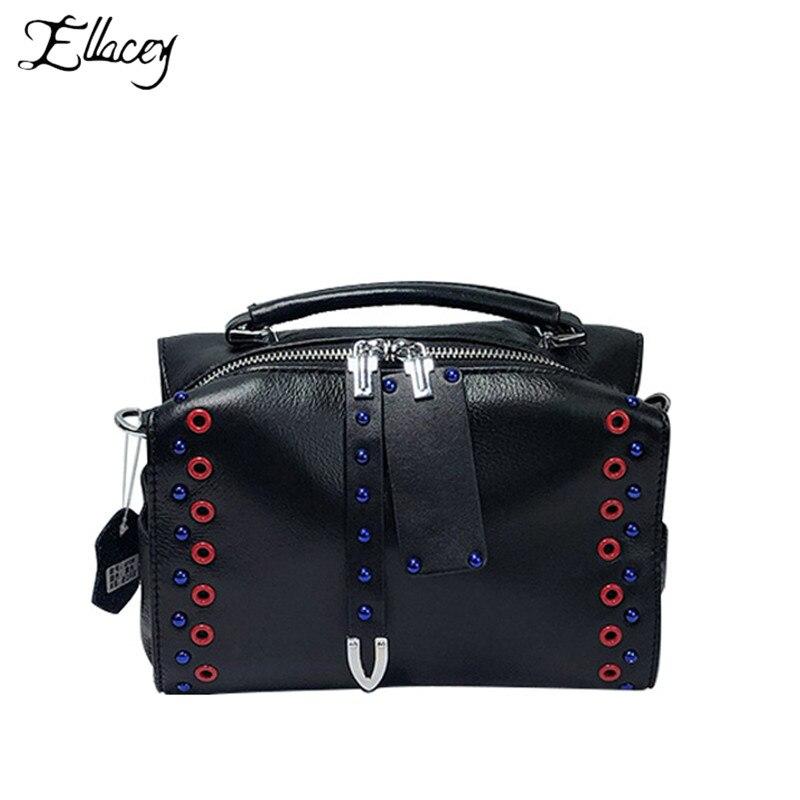 Nouveau femmes mode sac à bandoulière en cuir véritable bleu rouge rivetage rabat sac à bandoulière de luxe sacs à main femmes sacs Designer
