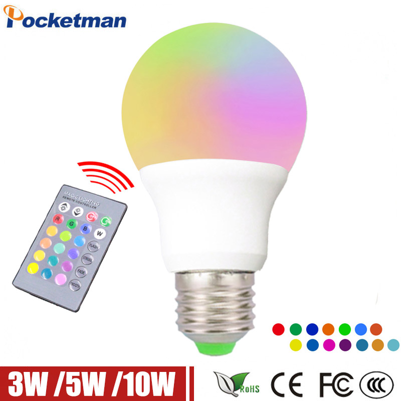 RGB Led Lamp E27 10W 5W 3W 220V E27 LED RGB Light Bulb Lampada LED RGB Light E27 LED Lights Changeable IR Remote Controller agm rgb led bulb lamp night light 3w 10w e27 luminaria dimmer 16 colors changeable 24 keys remote for home holiday decoration