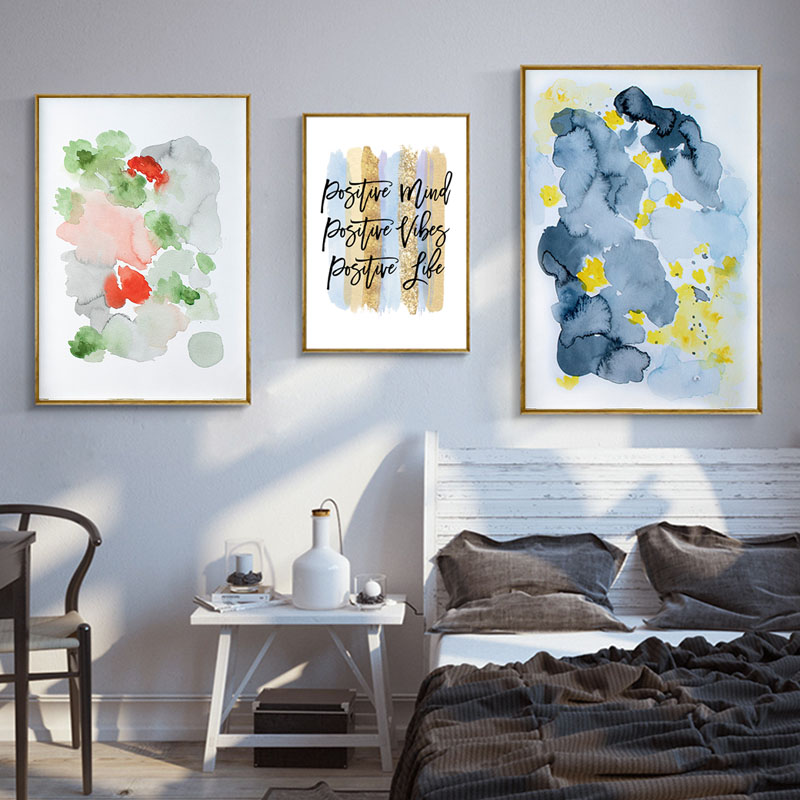 Us 3 62 33 Off Positive Mind Life Inspirational Wall Decor Canvas Print Flower Abstract Art Painting Contemporary Artwork Pictures For Bedroom In