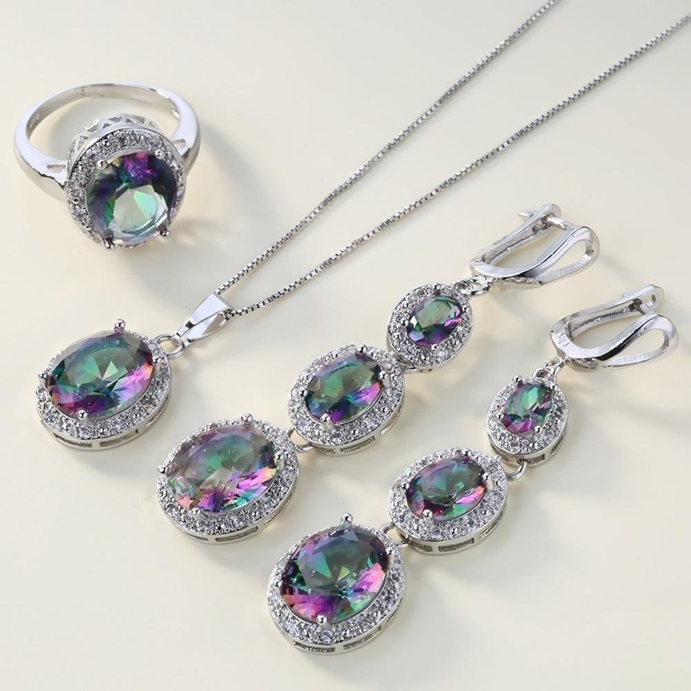 4Pcs/Set Multicolor Crystal Faux Inlaid Ring Earrings Pendant Necklace Jewelry To Women Geometric Design Wedding Jewelry