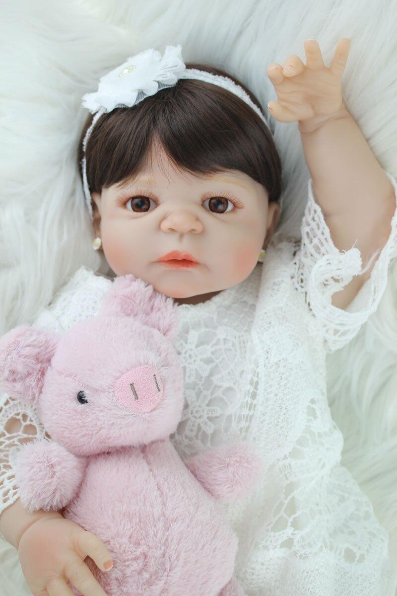 55 cm Plein Corps En Silicone Reborn Fille Bébé Poupée Jouet Réaliste Vinyle Princesse Enfant Poupée D'anniversaire Cadeau Présente Fille Brinquedos