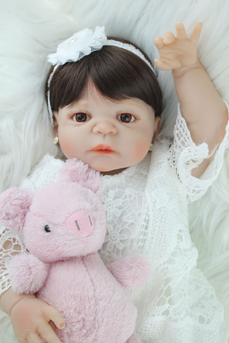 55cm Full Silicone Body Reborn Girl Baby Doll Toy Lifelike Vinyl Princess Toddler Doll Birthday Gift Present Girl Brinquedos
