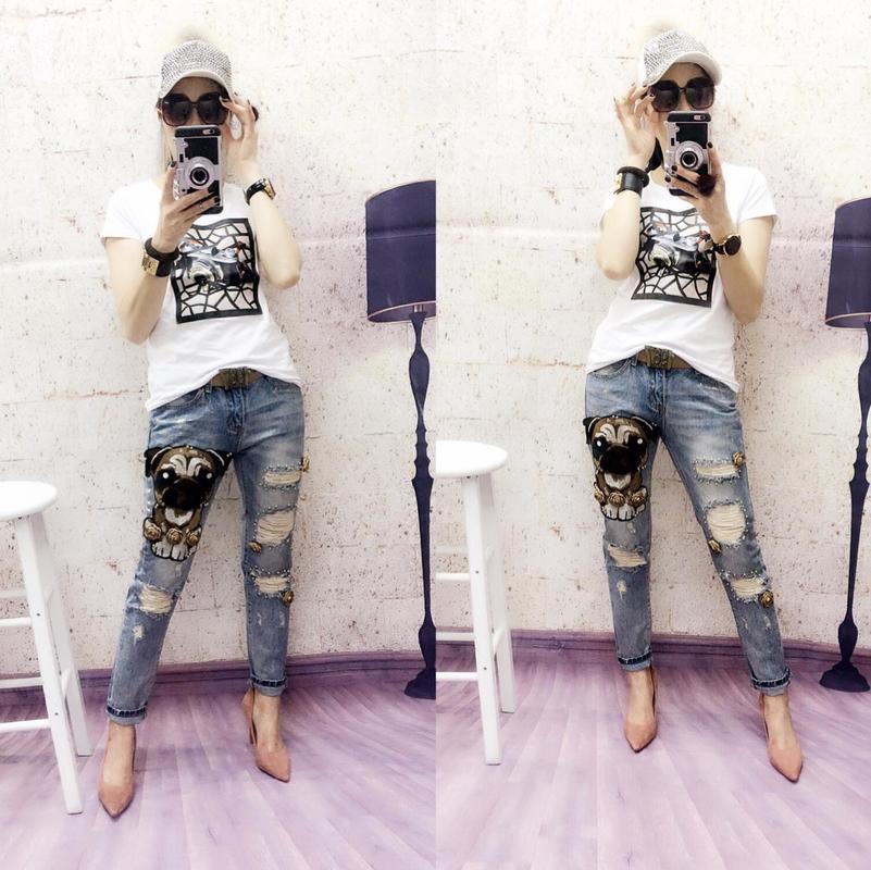 Déchiré Street High Pantalon Droite Jeans Automne Dames Animaux Fashion Slim Bleu Blanchis Femmes Personnalité Appliques Denim qXpxEaT