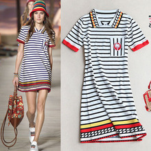 Stripe Knit Lapel/POLO Collar Shirt Dress summer big brand custom coconut tree embroidery short sleeved sweater dress pocket