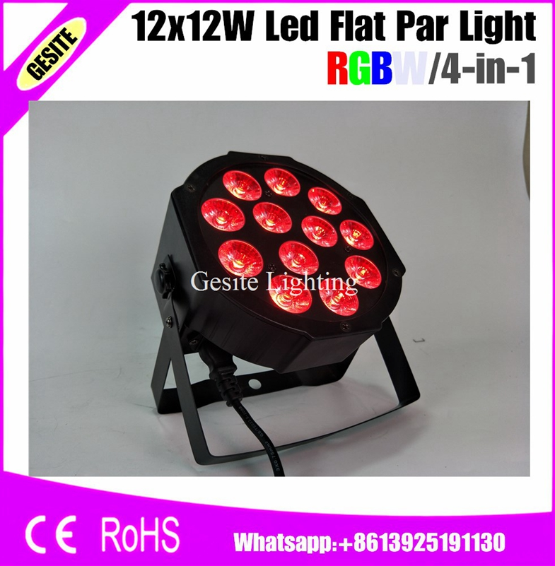 12pcs/LOT 12pcs/lot Led Par Light 12X10W 4in1 RGBW Slim Par Can Strobe Stage Lights