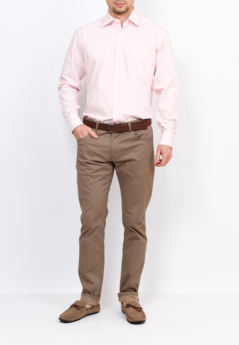 Shirt men's long sleeve GREG Gb610/319/RCL Pink plus size bird and floral print v neck long sleeve t shirt