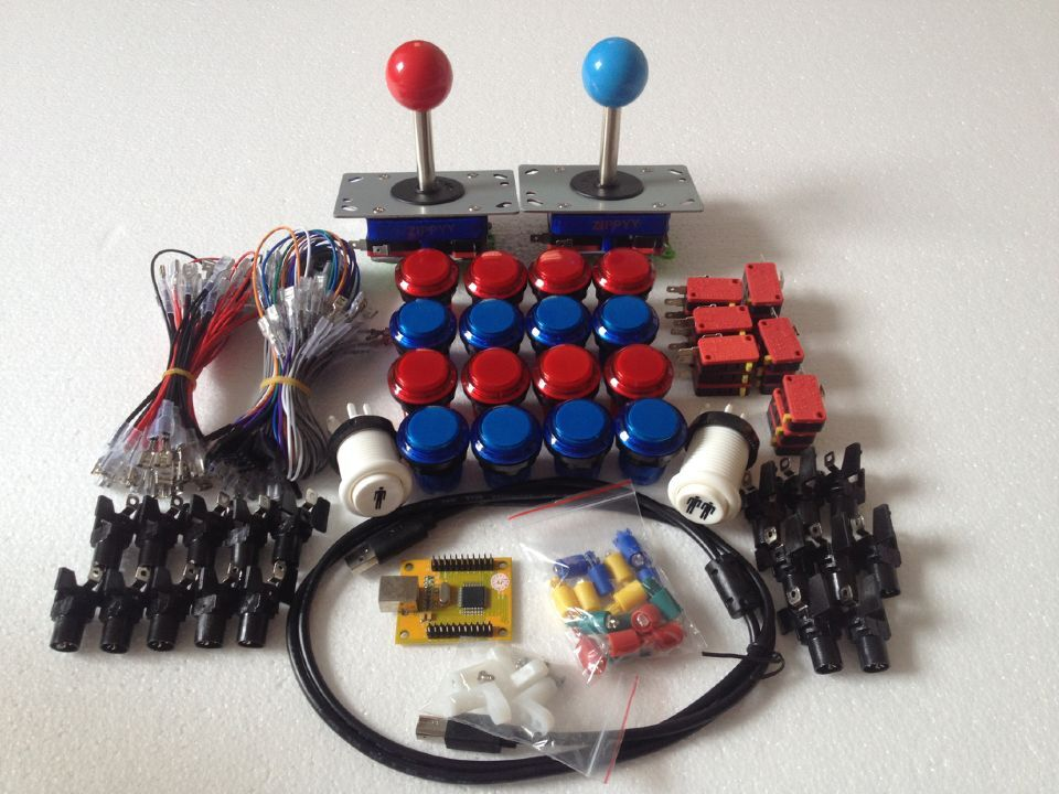 ФОТО Arcade parts Bundles kit With Joystick,chrome Pushbutton,Microswitch,2 player USB to Jamma Build Up Arcade Machine By Yourself