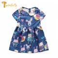 TWINSBELLA Girls Princess Dress New Cute Cartoon Animal Graffiti Children Kids Dress Collar Summer Party Dress Vestidos