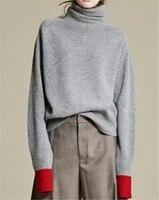 Коза смесь кашемира толстой вязки женская мода Высокий воротник лоскутное рукав пуловер свитер серый красный 3 вида цветов S 3XL
