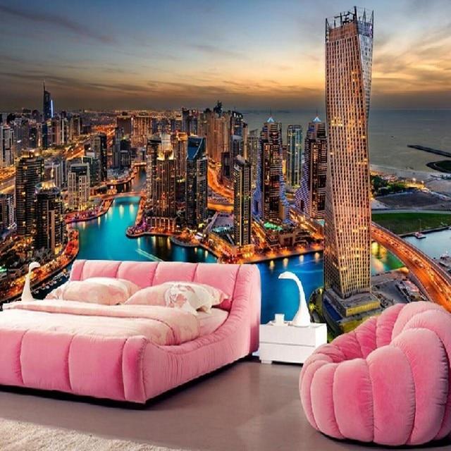 Beibehang Personalizzato Dubai città grattacieli notte divano del ...