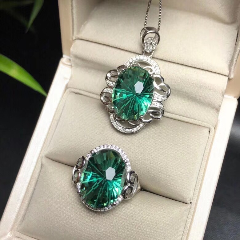MeiBaPJ Top Shining Natural Fireworks Green Crystal Jewelry Set Real 925 Sterling Silver Ring Necklace Fine