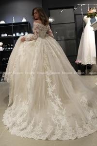 Image 4 - Luxury Ball Gown White Long Sleeves Wedding Dresses 2020 Muslim Lace Dubai Arabic Wedding Gown Bride Dress Robe De Mariee