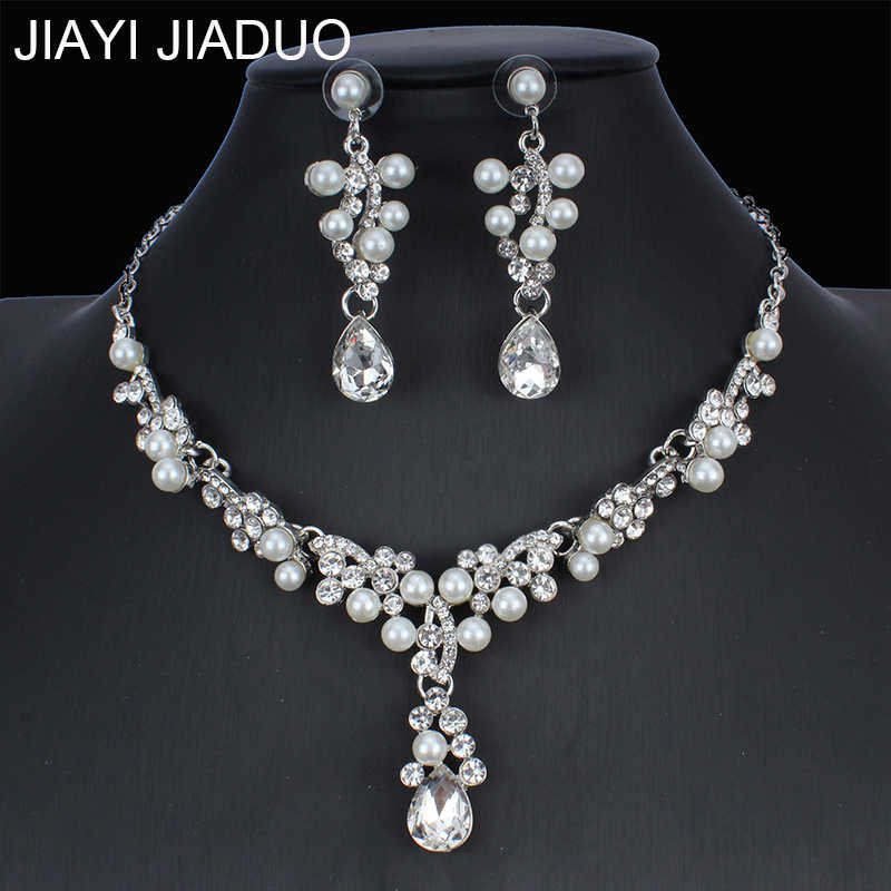 jiayijiaduo Bridal jewelry set imitation pearl necklace earrings set for glamour women wedding dress jewelry gift