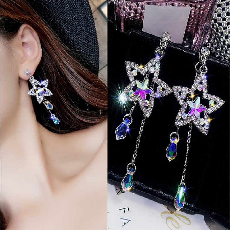 2019 New Arrival  Metal Trendy Star Women Dangle Earrings Fashion Korean Pentagonal Star Hollow Star Crystal Female Earrings