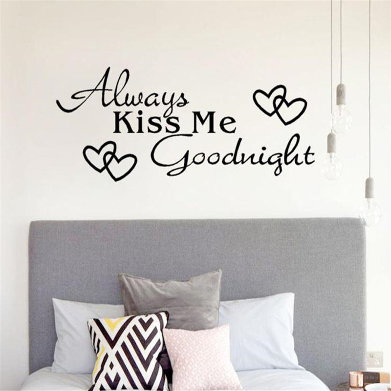 US $1.14 35% OFF|1pc Romantic Mural Love Vinyl Wall Stickers Bedroom Quotes  decals Always Kiss Me Goodnight Home Decoration Wall Art Decor july31-in ...