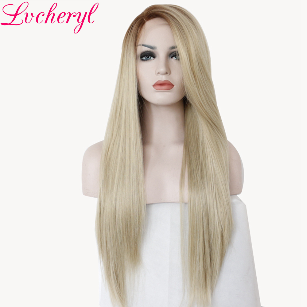 Lvcheryl Ombre Brown To Blonde Color Long Straight Style Hand Tied Heat Resistant Hair Synthetic Lace Front Wigs for Woman