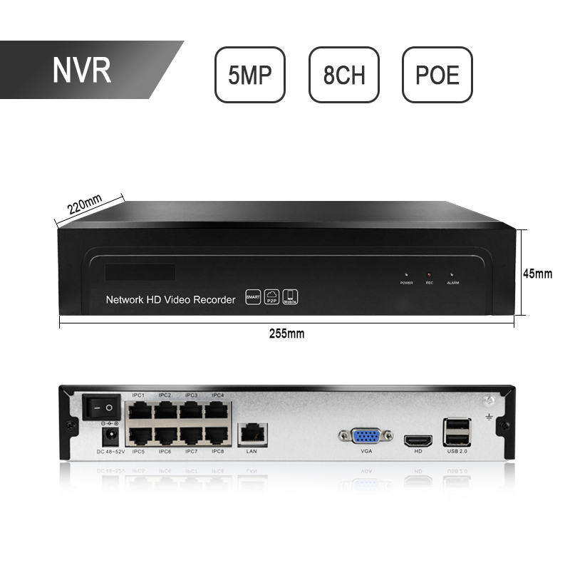 H 265 8CH 1080P 4K 5 0MP POE CCTV NVR Network P2P Recorder video Surveillance Security