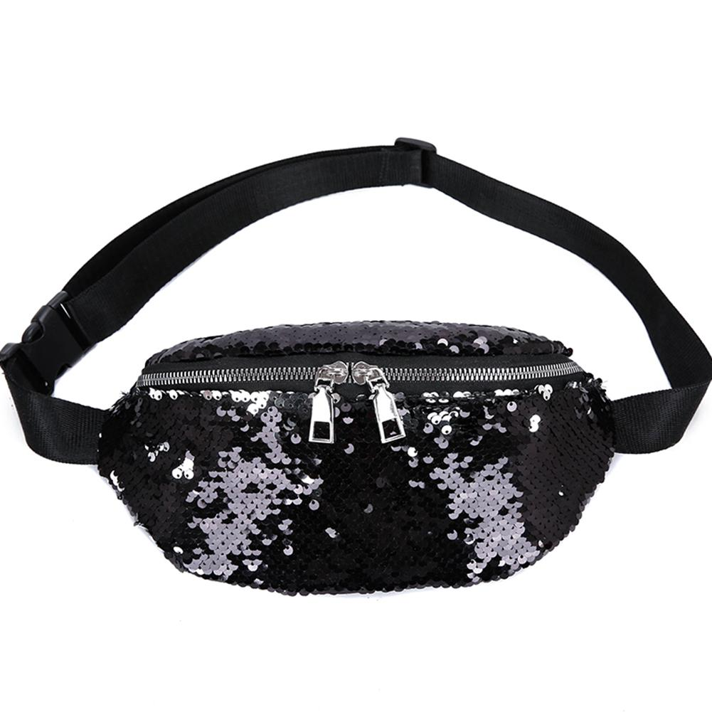 Glitter Sequins Women Crossbody Chest Waist Bag Zipper AdjustableFanny Pack