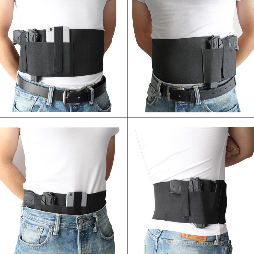 Military Belly Band Gun Holster Waist band pistol elastic Holster for Concealed Carry with Magazine Pocket Fit up to 46