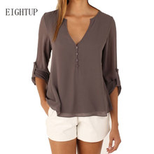 Women Solid Blouse Tops V-neck Vintage Spring Autumn Shirt Clothing Casual Roll Up Sleeve Chiffon Blouse Blusas Blusa