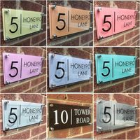 Placa clássica personalizada do endereço da rua do número da porta do sinal da casa vidro moderno Placas de porta Renovação da Casa -