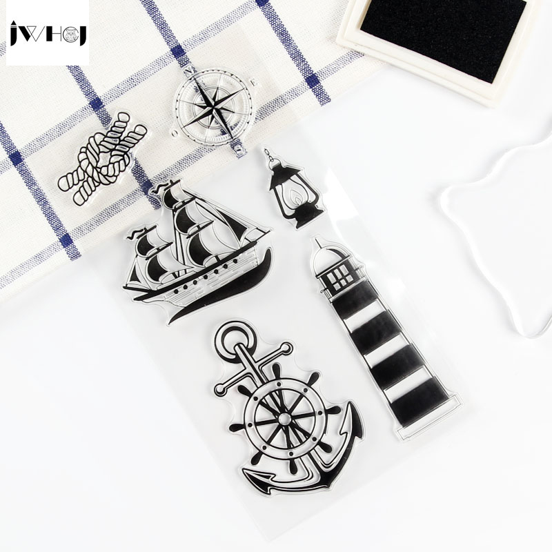 1 pcs sailing era transparent silicone stamps, children DIY Handmade Scrapbook Photo Album decor tools students soft Stamps