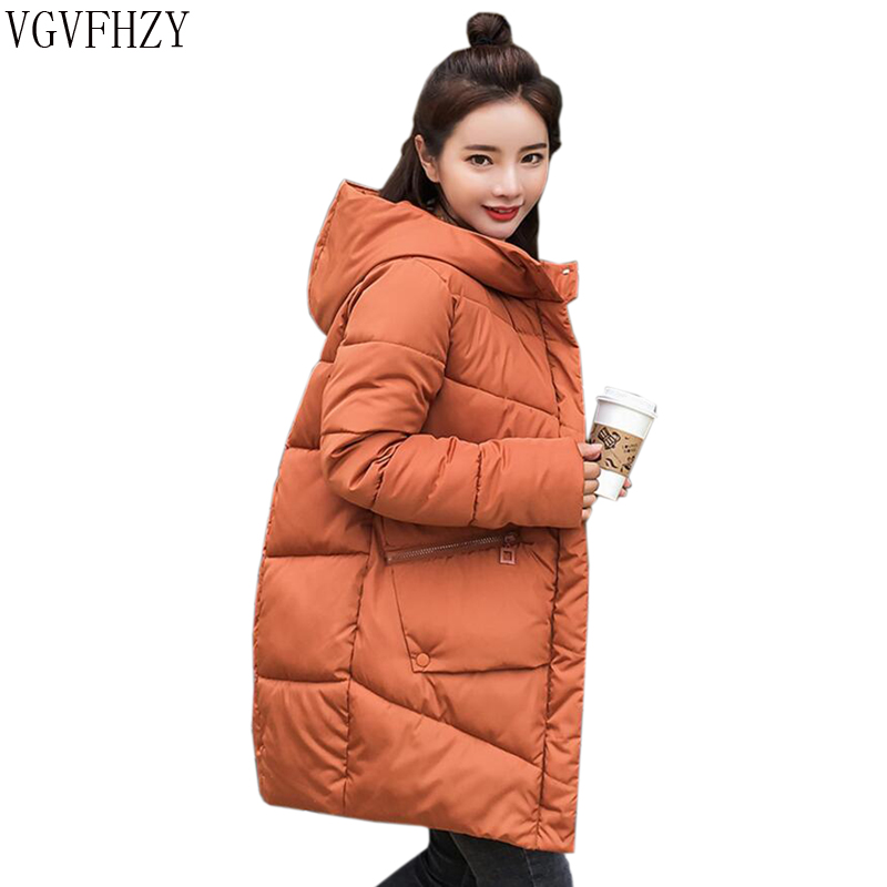 Thick Warm Hooded Long Down   Parkas   Women Down Jacket Winter Coat Cotton Padded Jacket Woman Winter Jacket Coat Female New 2018