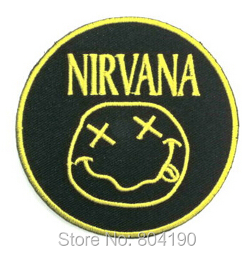 NIRVANA Classic Smiley Music Rock Post Hardcore Band LOGO Embroidered IRON ON Patch Applique Cap Hat Heavy Metal-in Patches from Home & Garden    1
