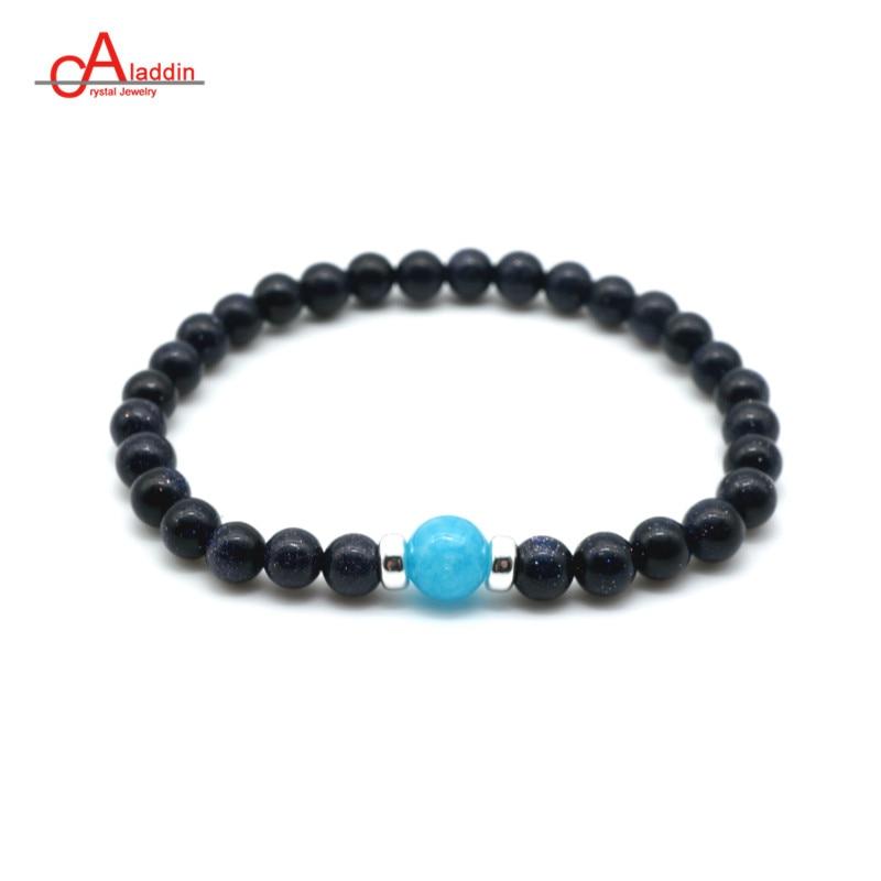 6 mm Rayures Arc En Ciel Acrylique Rond Perles Stretch Bracelet Fashion Bracelet