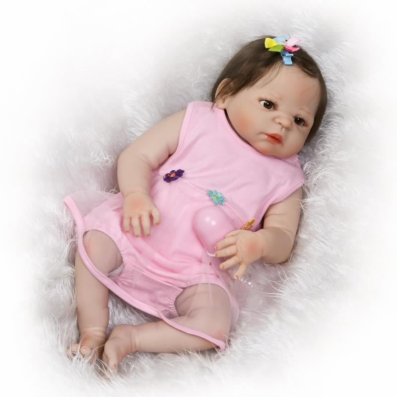 Pursue 22/57 cm Realistic Anatomically Correct Girl Reborn Dolls Full Body Silicone Newborn Baby Doll for Girls Birthday Gift