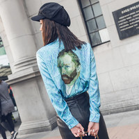 TREND Setter 2018 Spring Casual Van Gogh Pattern Blouse Women Blue Painting Shirt Ladies Tops